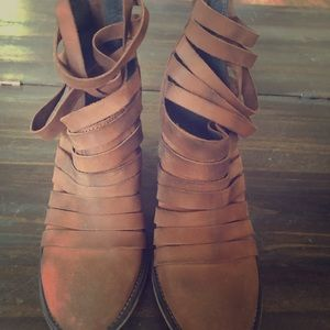Free People Hybrid Strappy Leather Bootie